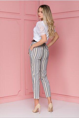 Pantaloni Elena cu dungi bej