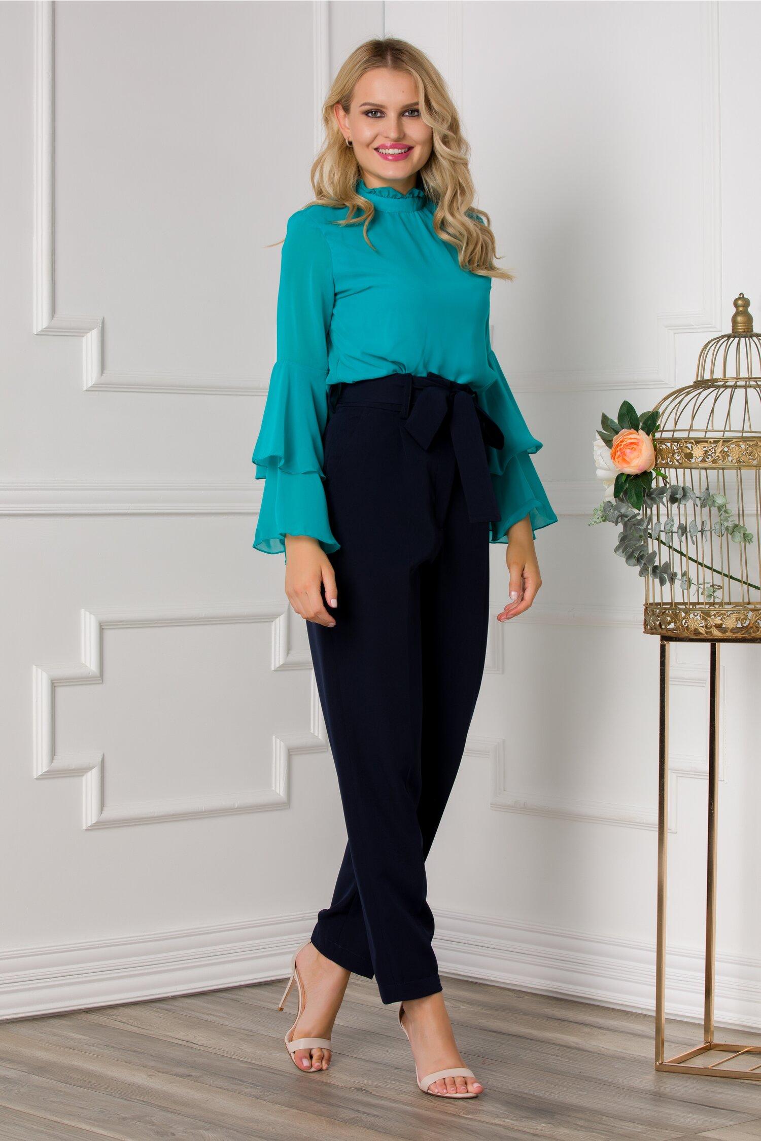 Pantaloni Ella Collection Brooklyn bleumarin cu cordon in talie