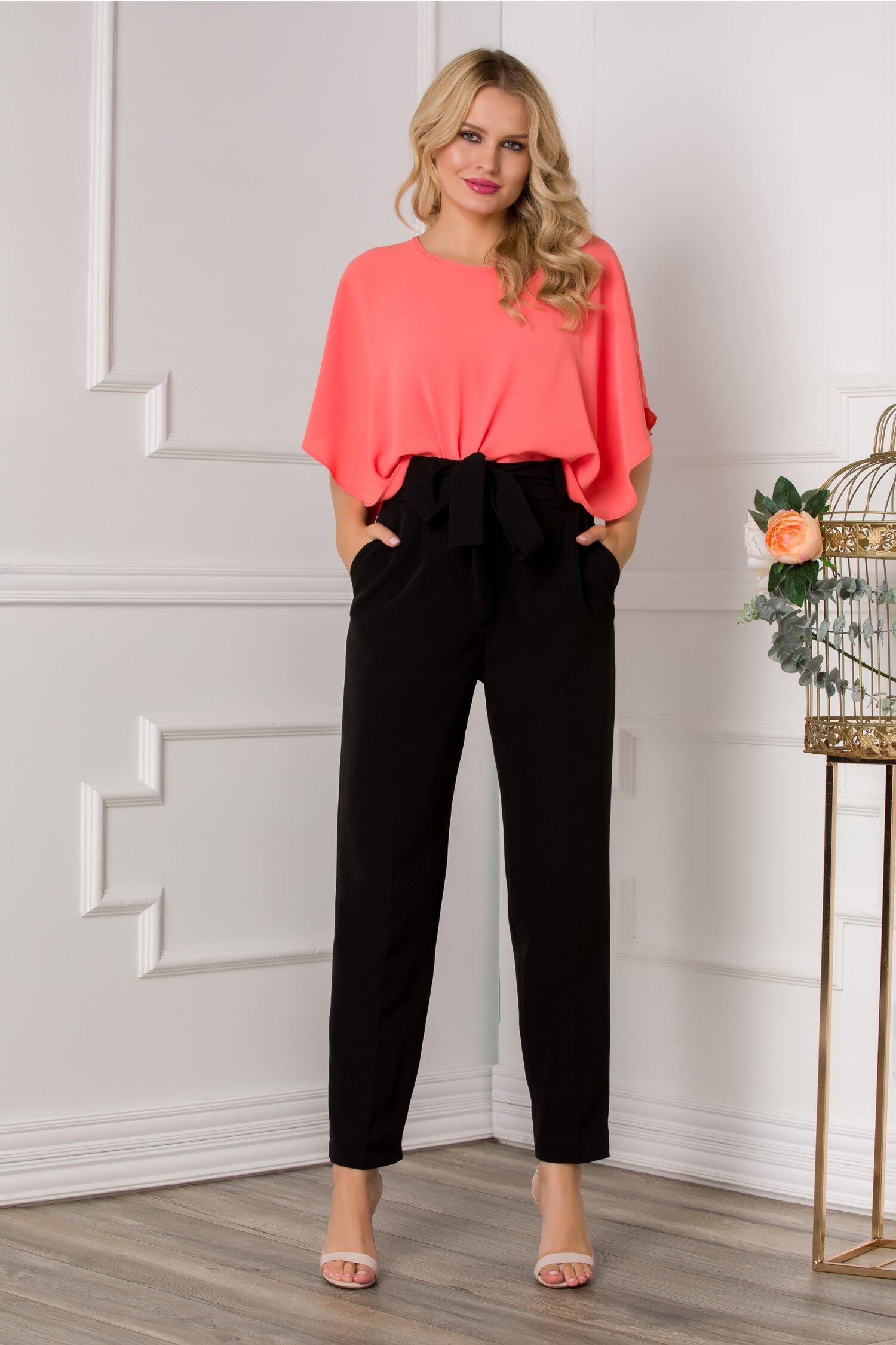 Pantaloni Ella Collection Brooklyn negri cu cordon in talie
