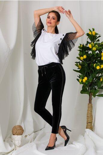 Pantaloni Ella Collection Rona negri din catifea cu benzi laterale stralucitoare