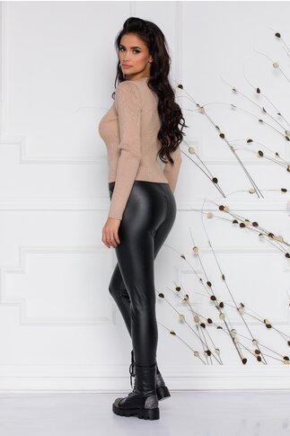 Pantaloni Ema negri din piele ecologica
