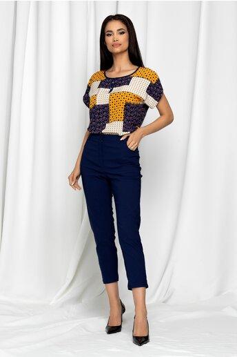 Pantaloni Emilia bleumarin skinny cu talie inalta