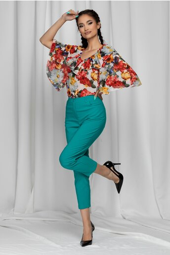 Pantaloni Emilia turcoaz skinny cu talie inalta