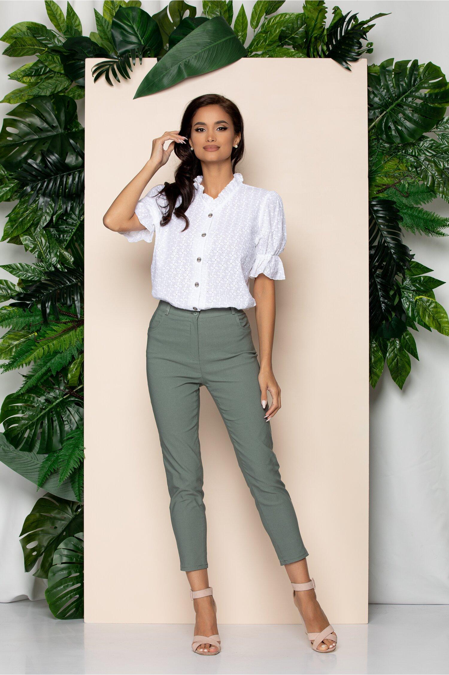 Pantaloni Emilia verde army skinny cu talie inalta