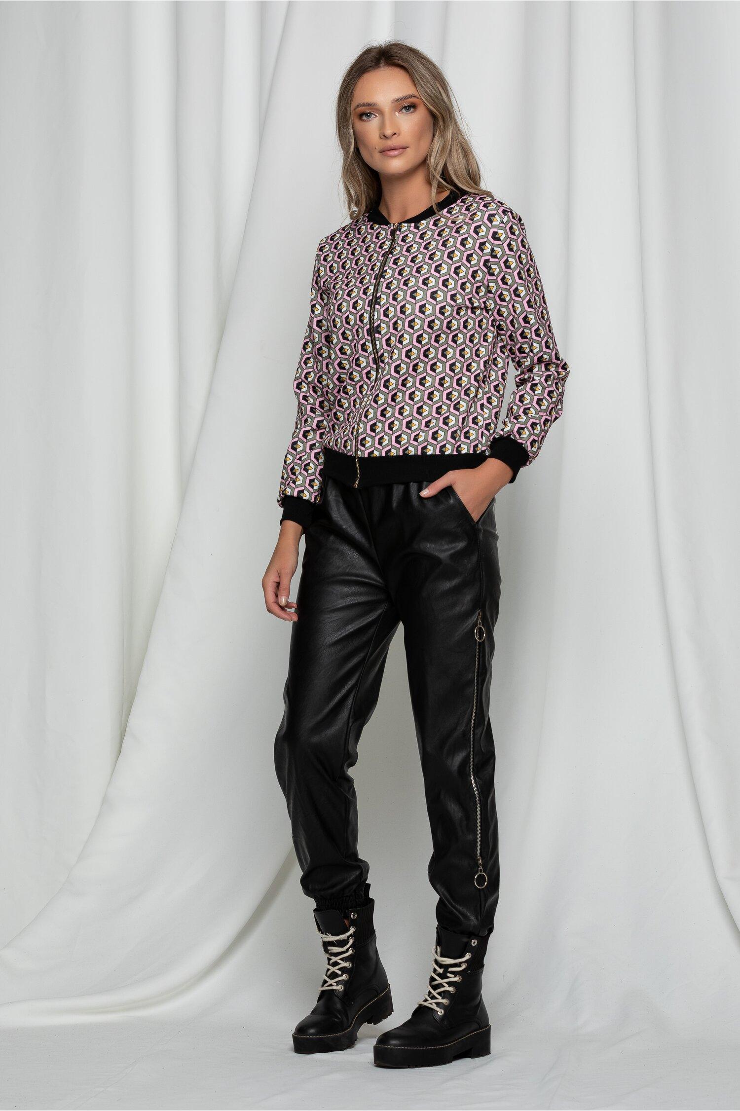 Pantaloni Emilly negri din piele ecologica cu fermoare
