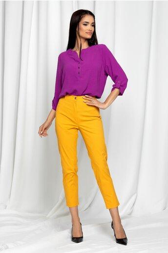 Pantaloni Eneida galben mustar skinny cu talie inalta