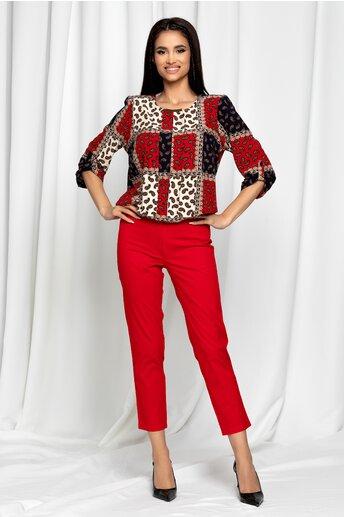 Pantaloni Eneida rosii skinny cu talie inalta
