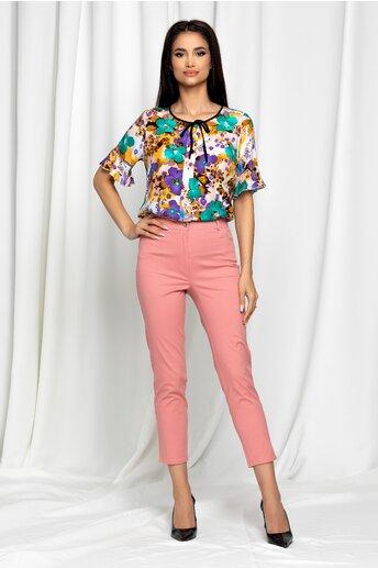 Pantaloni Eneida roz skinny cu talie inalta