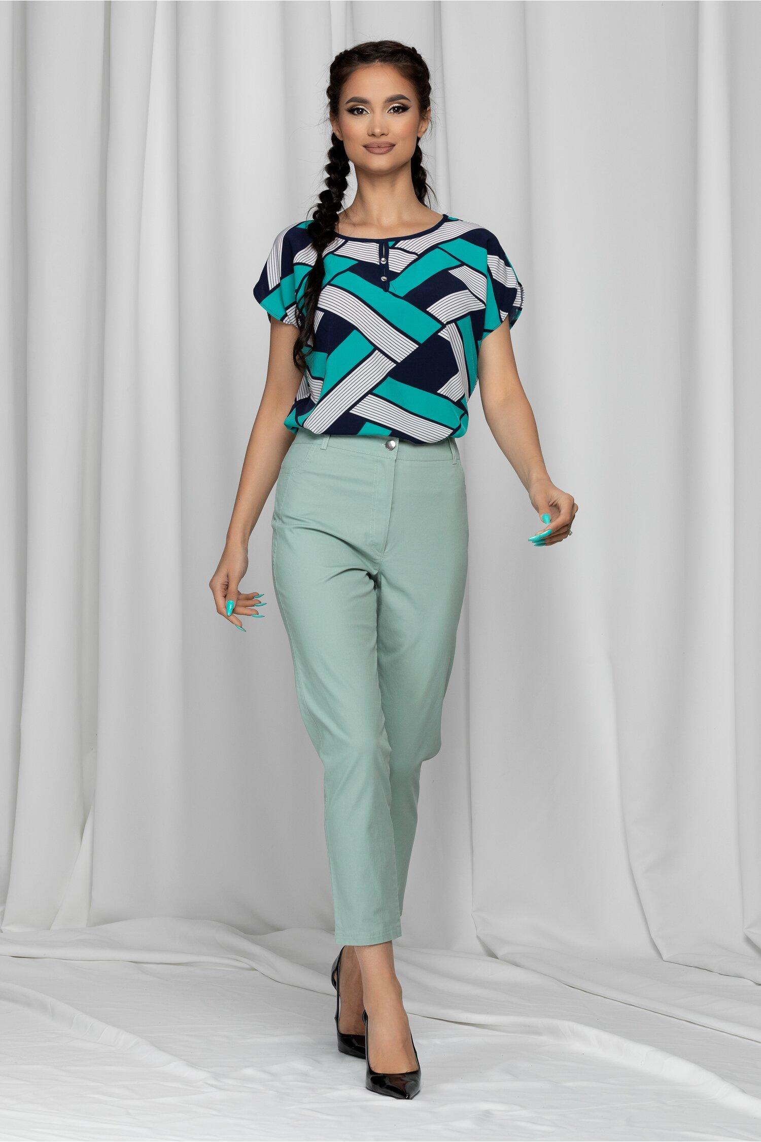Pantaloni Eneida verde mint skinny cu talie inalta