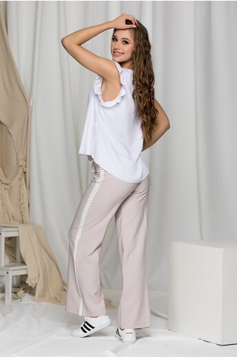 Pantaloni Erica bej lejeri cu dunga alba