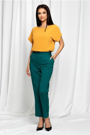 Pantaloni Erica verzi cu talie inalta si dunga