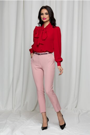 Pantaloni Erika roz cu betelie dubla si buzunare laterale