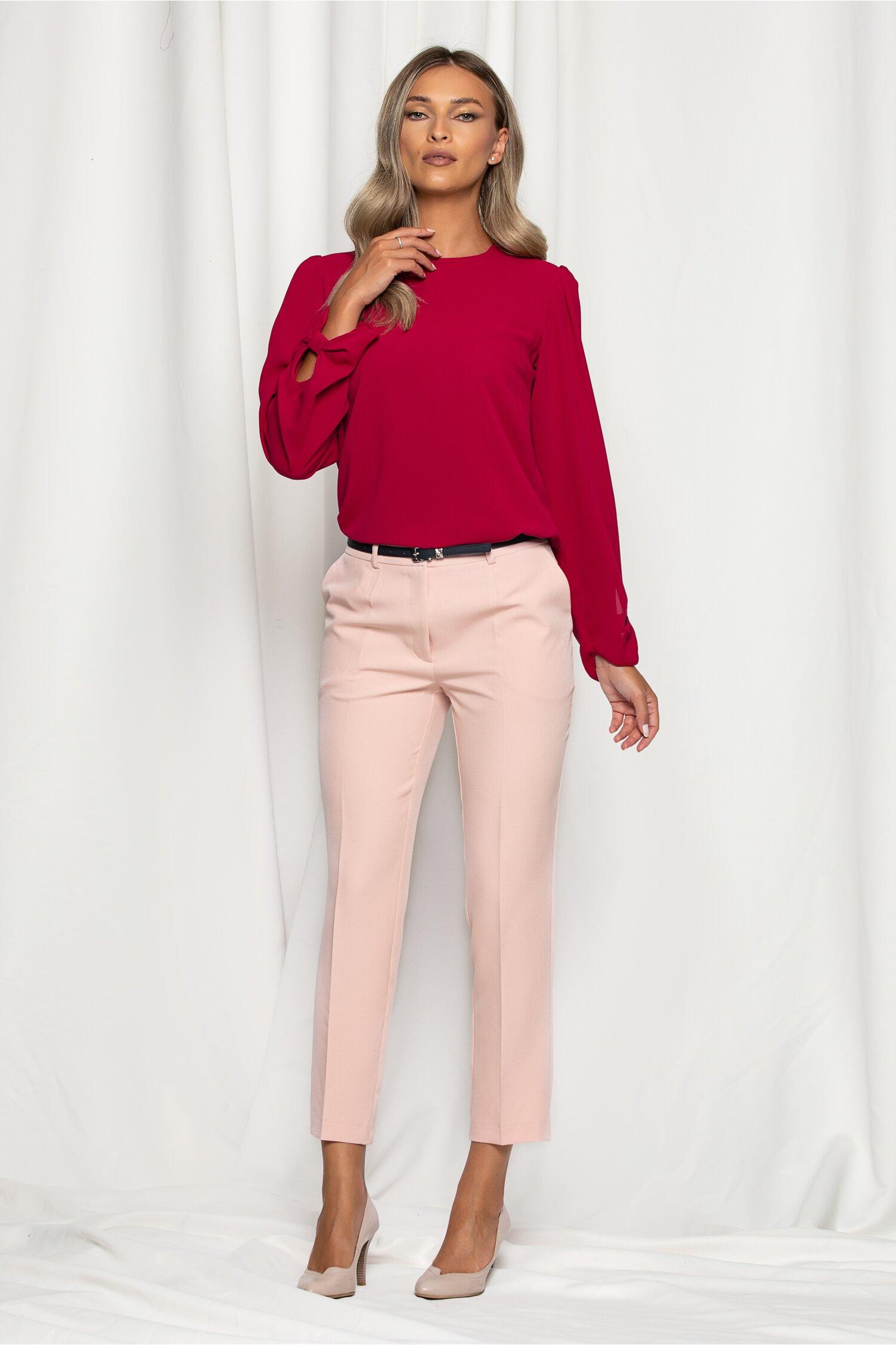 Pantaloni Erika roz deschis cu betelie dubla si buzunare laterale