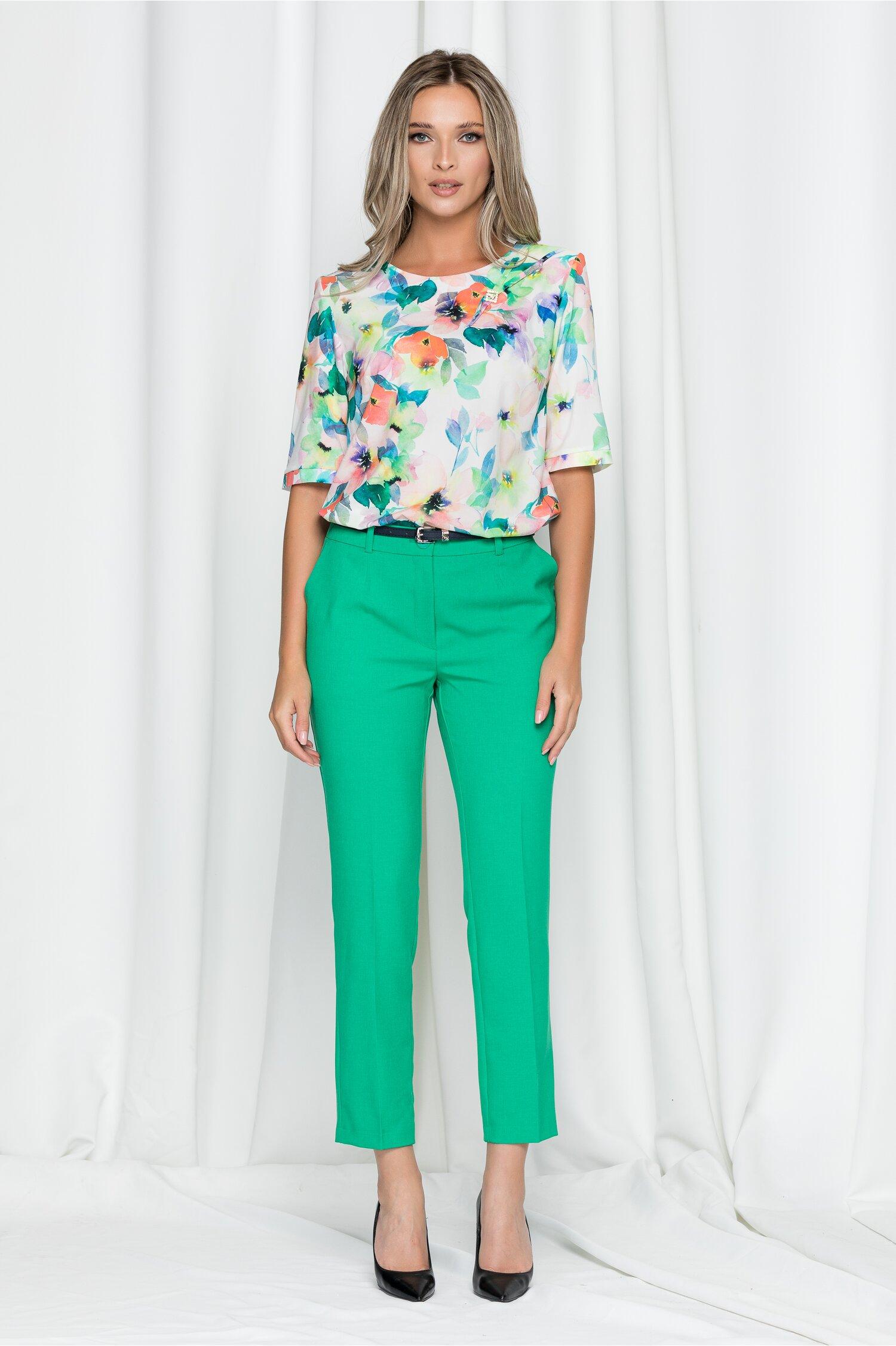 Pantaloni Erika verde crud cu betelie dubla si buzunare laterale