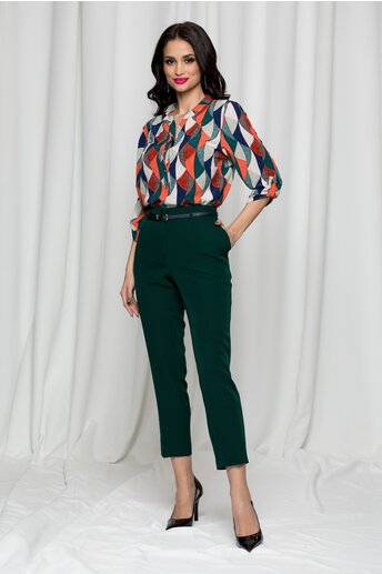 Pantaloni Erika verzi cu betelie dubla si buzunare laterale