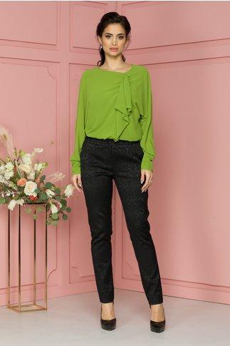 Pantaloni Flory negri cu detalii florale discrete
