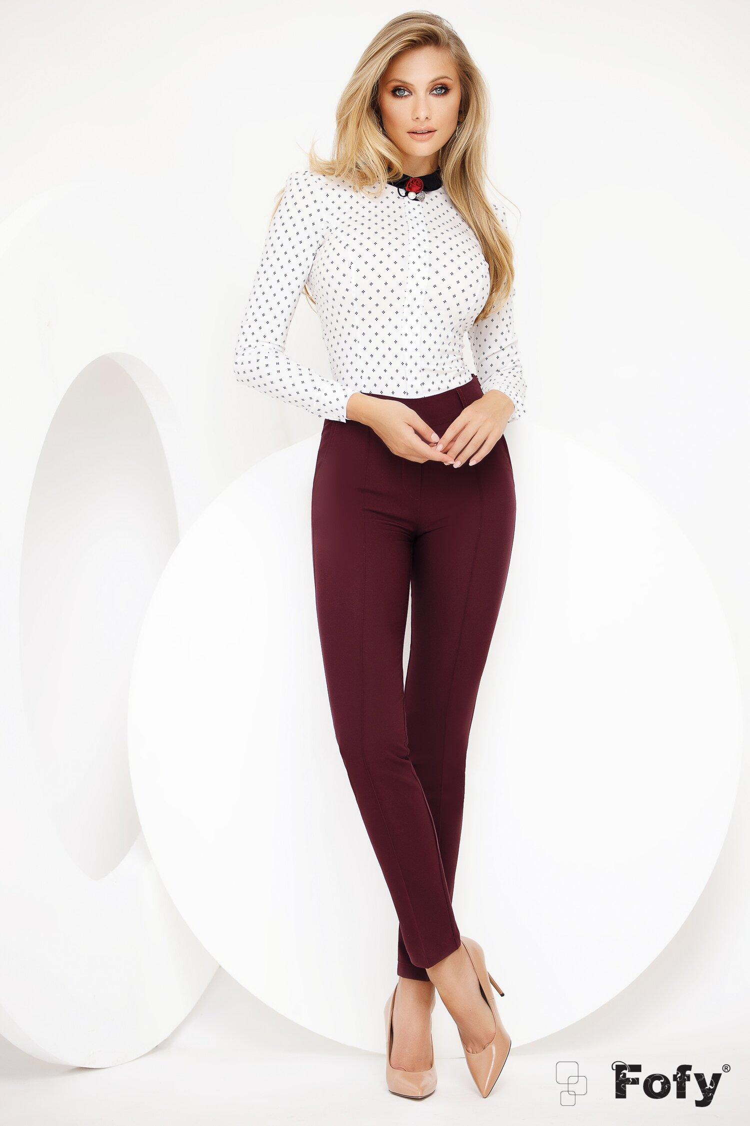 Pantaloni Fofy conici bordo cu nervura