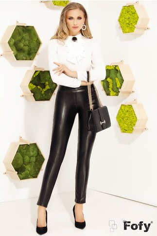 Pantaloni Fofy negri din piele ecologica