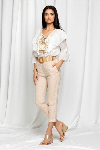 Pantaloni Freya bej accesorizati cu o curea in talie