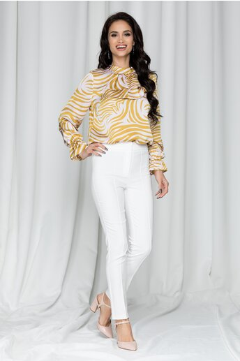 Pantaloni Ginette albi cu betelie dubla si dungi
