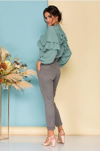 Pantaloni gri Cara office cu carouri bleu