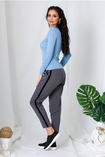 Pantaloni gri cu elastic in talie si lampas negru din catifea