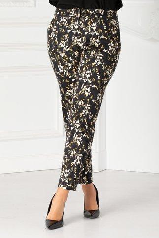 Pantaloni Jacom negri din bumbac cu imprimeu floral