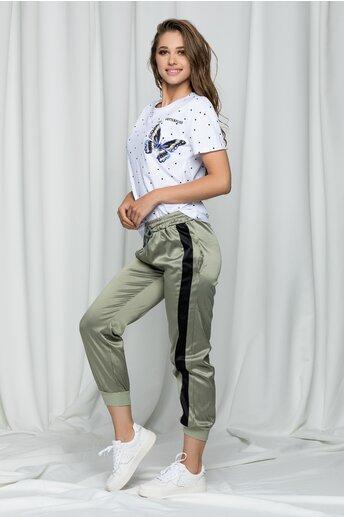 Pantaloni Karina kaki satinati cu dunga neagra laterala