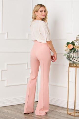 Pantaloni Kenia roz cu talie inalta