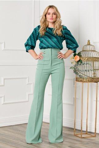 Pantaloni Kenia verzi cu talie inalta