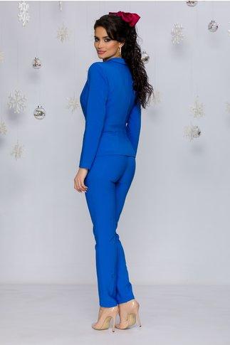 Pantaloni LaDonna albastrii office cu design cu dungi