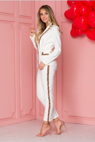 Pantaloni LaDonna albi cu benzi leopard print pe lateral