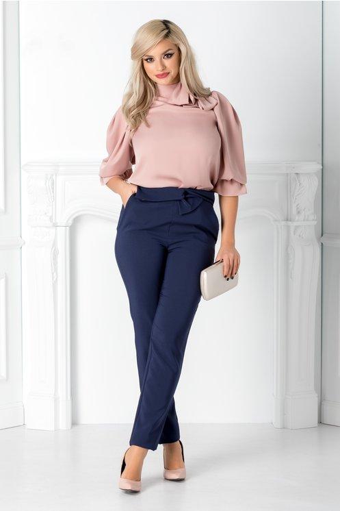 Pantaloni LaDonna bleumarin cu funda in talie