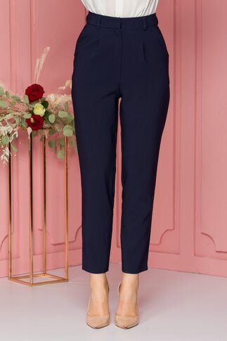 Pantaloni LaDonna bleumarin cu pliuri in talie