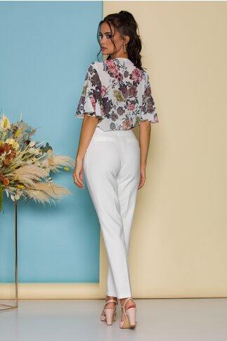 Pantaloni LaDonna by Catalin Botezatu albi cu dunga si decupaj decorativ la spate