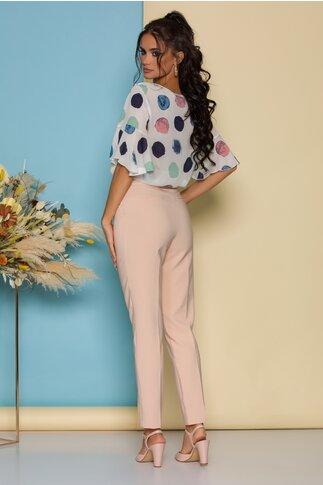 Pantaloni LaDonna by Catalin Botezatu bej roze cu dunga si decupaj decorativ la spate