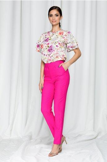 Pantaloni LaDonna by DYFashion fucsia cu inchidere in fata discreta