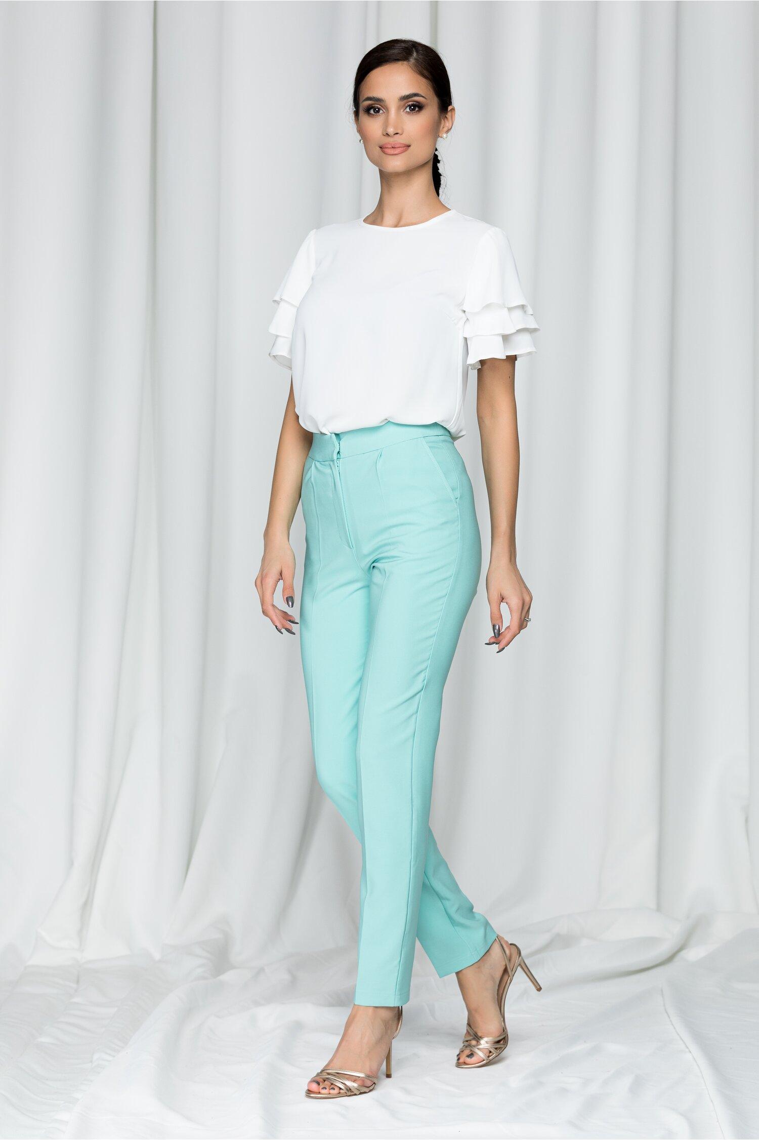 Pantaloni LaDonna by DYFashion verde mint cu inchidere in fata discreta