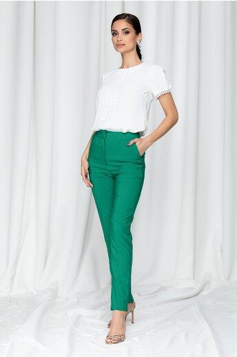 Pantaloni LaDonna by DYFashion verzi cu inchidere in fata discreta
