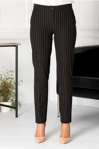 Pantaloni LaDonna conici negri cu dungi albe