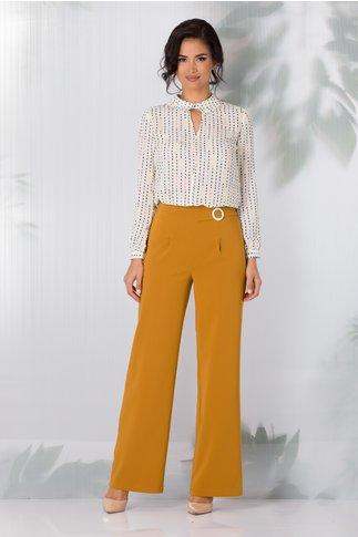 Pantaloni LaDonna evazati galben mustar