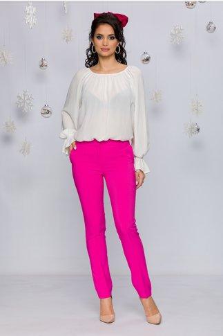 Pantaloni LaDonna fucsia office cu design cu dungi
