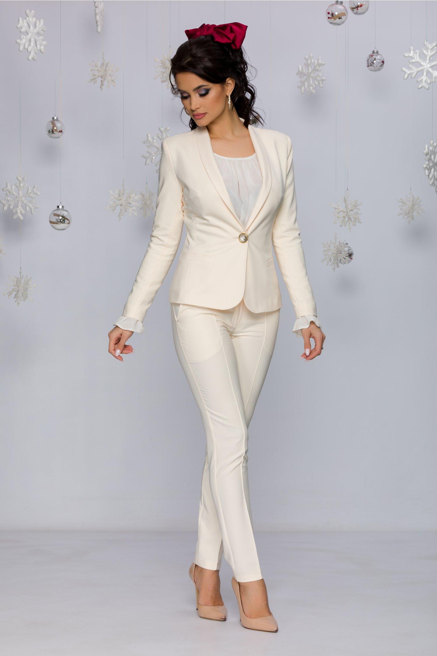 Pantaloni LaDonna ivoire office cu design cu dungi