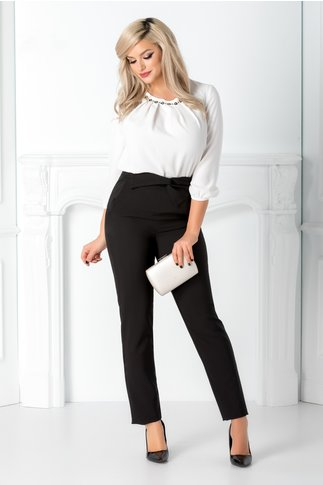 Pantaloni LaDonna negri cu funda in talie