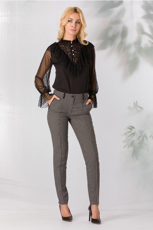 Pantaloni LaDonna negri cu imprimeu abstract