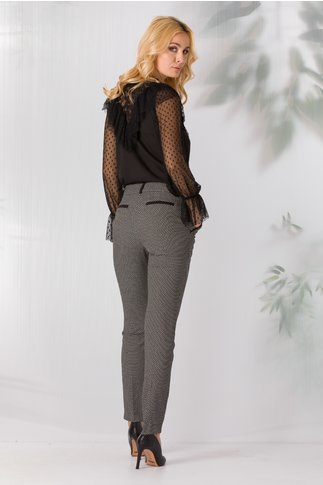 Pantaloni LaDonna negri cu imprimeu abstract
