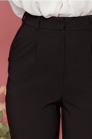 Pantaloni LaDonna negri cu pliuri in talie