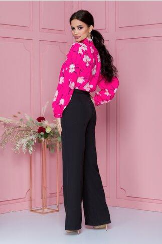 Pantaloni LaDonna negri evazati cu nasturi decorativi