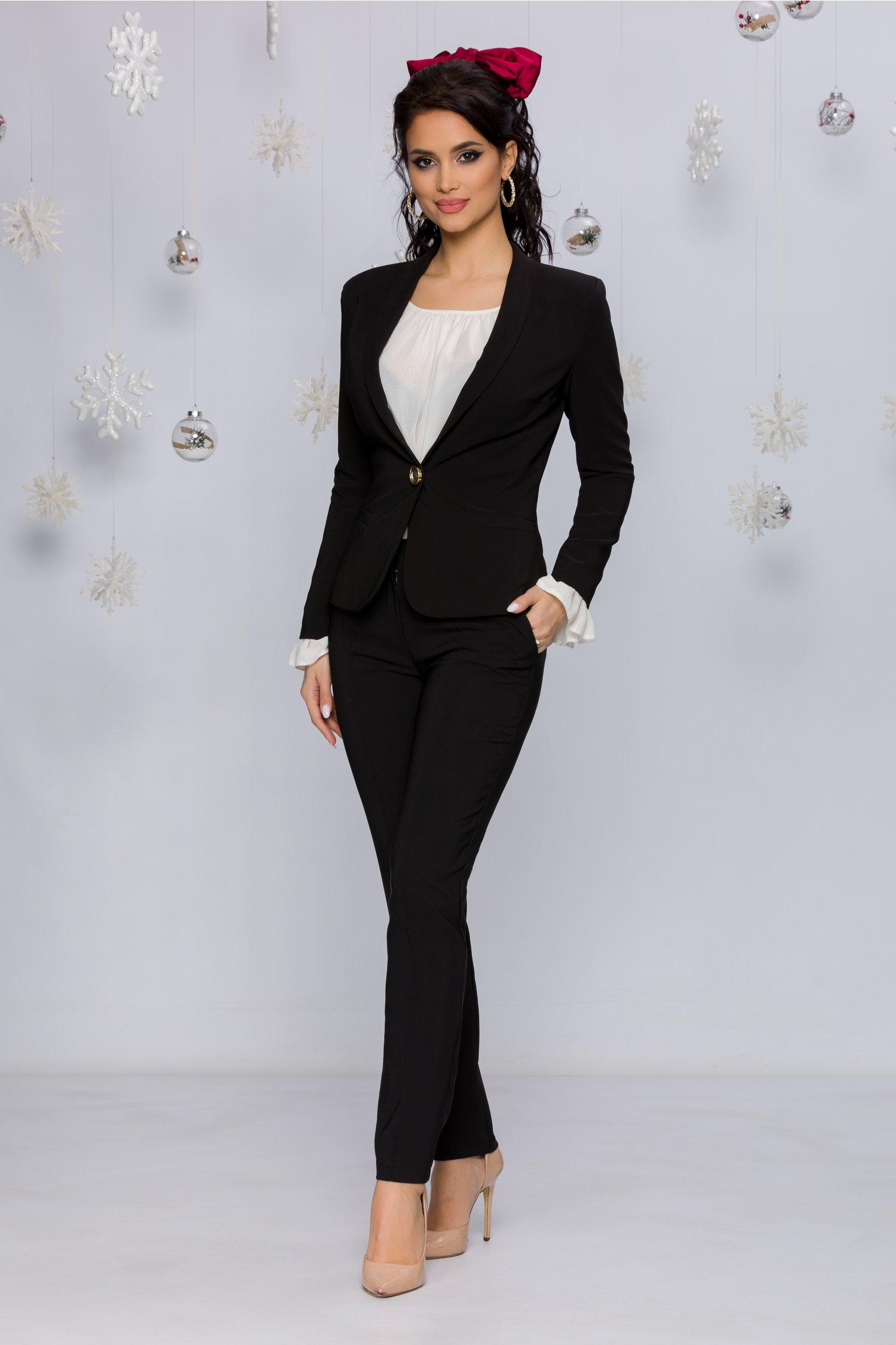 Pantaloni Ladonna Negri Office Cu Design Cu Dungi