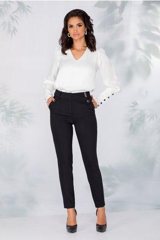 Pantaloni LaDonna office bleumarin cu nasture fantezie